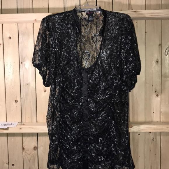torrid Tops - Torrid black metallic sheer blouse 4